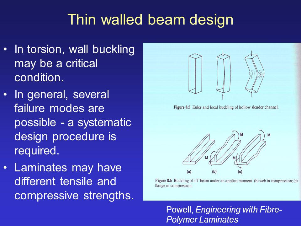 Thin walled beam design In torsion, wall buckling may be a critical condition. In general, several failure modes are possible - a systematic design pr