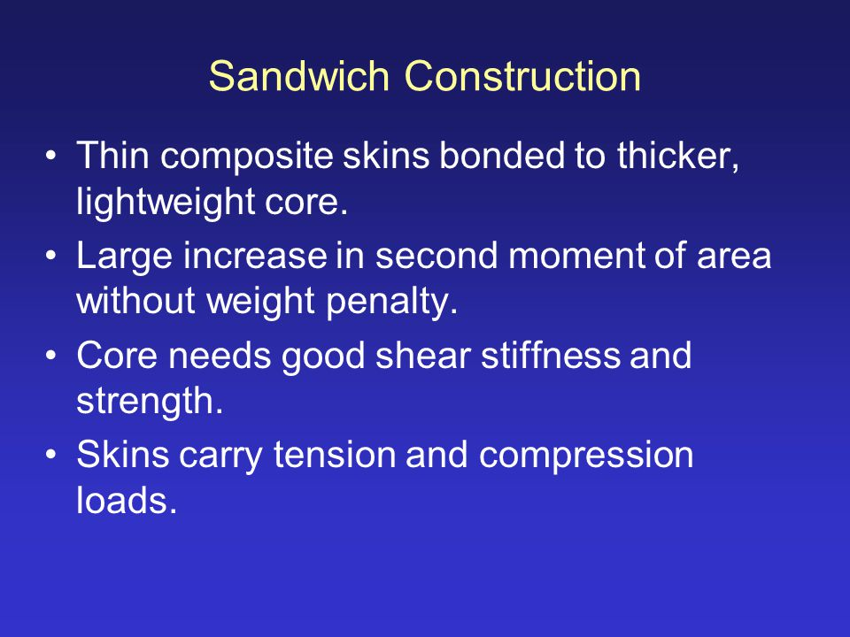 Sandwich Construction Thin composite skins bonded to thicker, lightweight core. Large increase in second moment of area without weight penalty. Core n