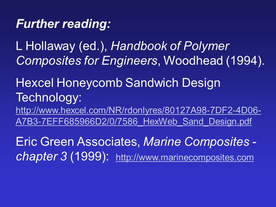 Further reading: L Hollaway (ed.), Handbook of Polymer Composites for Engineers, Woodhead (1994). Hexcel Honeycomb Sandwich Design Technology: http://