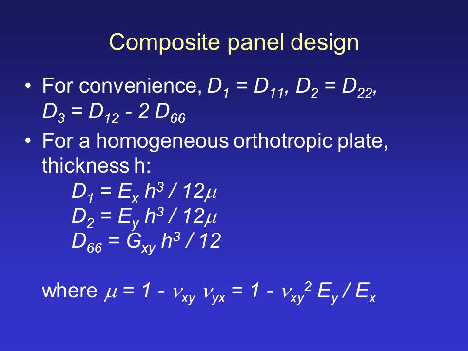 Composite panel design For convenience, D 1 = D 11, D 2 = D 22, D 3 = D 12 - 2 D 66 For a homogeneous orthotropic plate, thickness h: D 1 = E x h 3 /