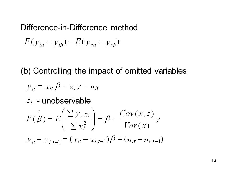 13 Difference-in-Difference method (b) Controlling the impact of omitted variables - unobservable