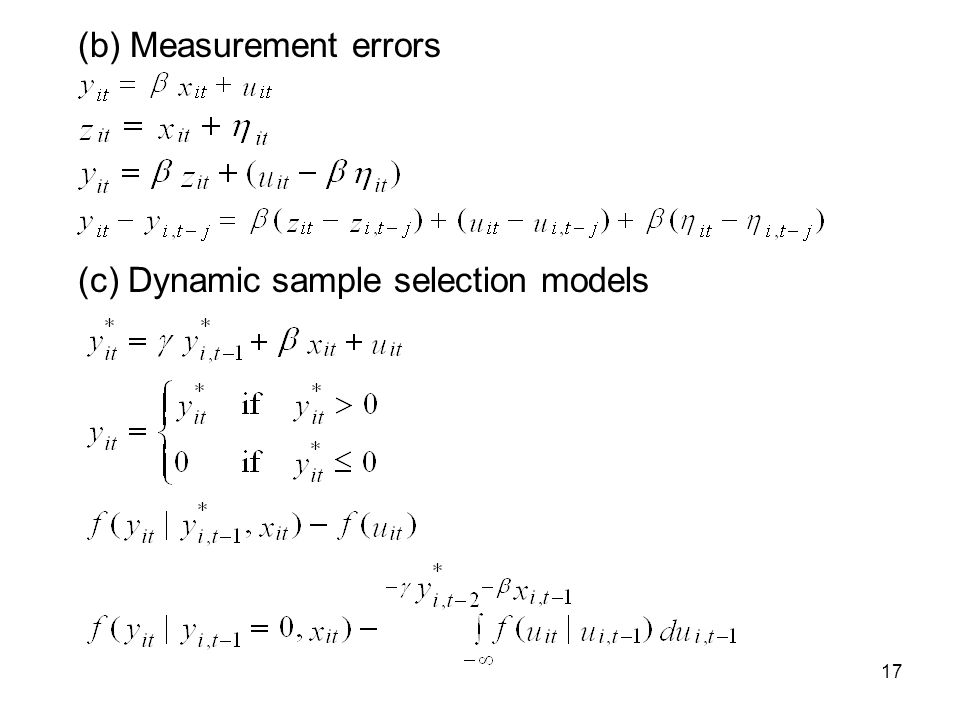 17 (b) Measurement errors (c) Dynamic sample selection models