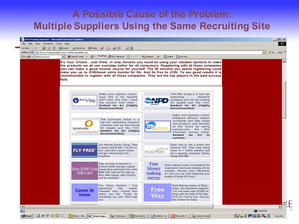 A Possible Cause of the Problem: Multiple Suppliers Using the Same Recruiting Site