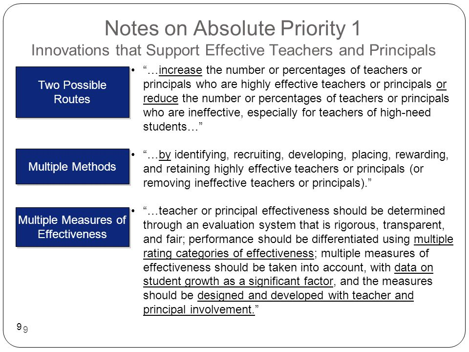 10 Notes on Absolute Priority 2 Innovations that Improve the Use of Data …(a) encourage and facilitate the evaluation, analysis, and use of student achievement or student growth data by educators, families, and other stakeholders in order to inform decision- making and improve student achievement, student growth, or teacher, principal, school, or LEA performance and productivity; or (b) enable data aggregation, analysis, and research …data must be disaggregated using the student subgroups described in section 1111(b)(3)(C)(xiii) of the ESEA… Two Possible Areas of Focus Data Disaggregation