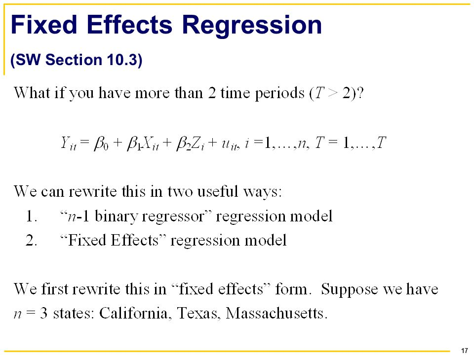 17 Fixed Effects Regression (SW Section 10.3)