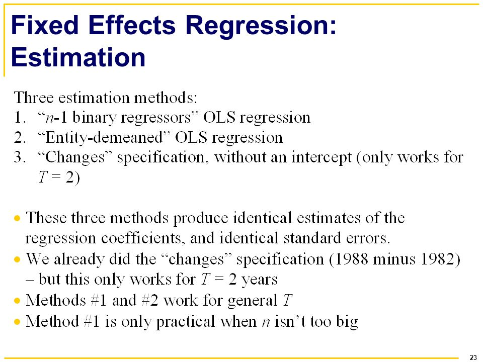 23 Fixed Effects Regression: Estimation