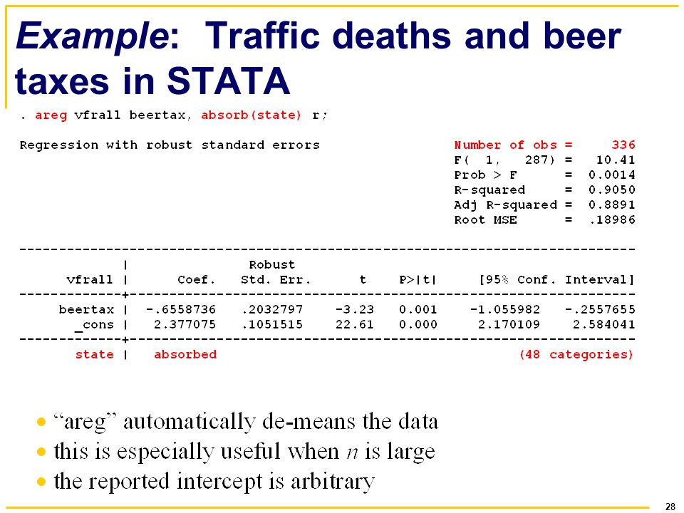28 Example: Traffic deaths and beer taxes in STATA