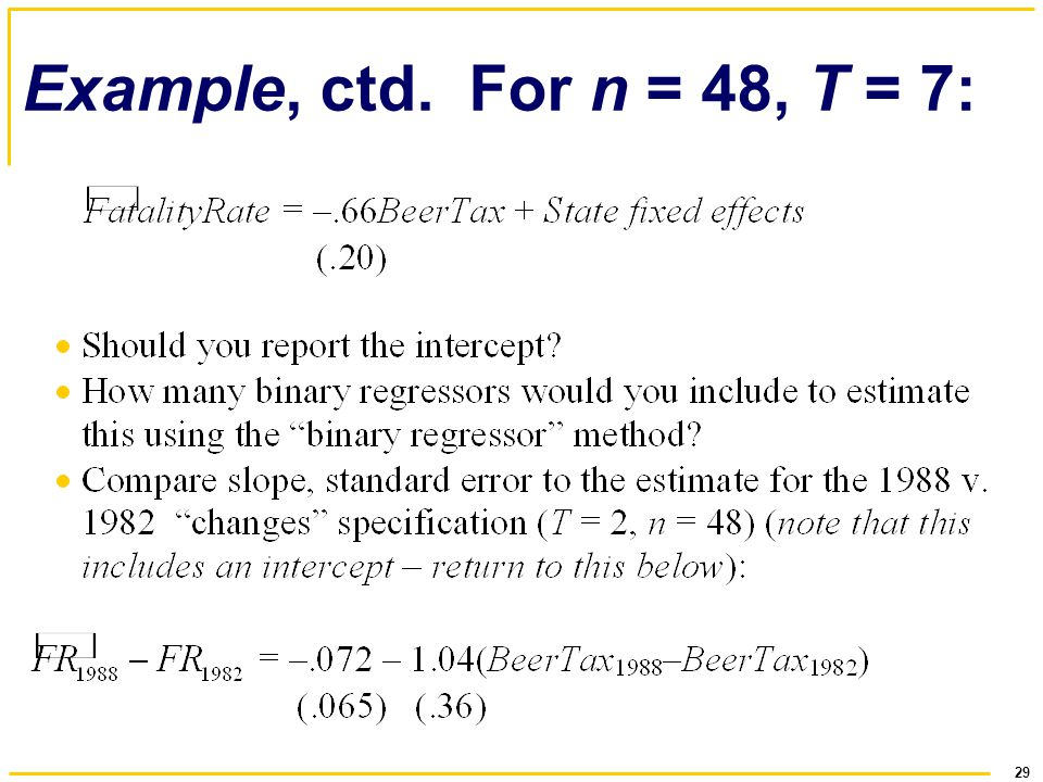 29 Example, ctd. For n = 48, T = 7: