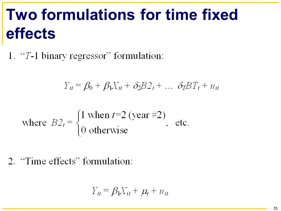 35 Two formulations for time fixed effects