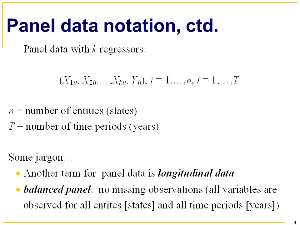 4 Panel data notation, ctd.