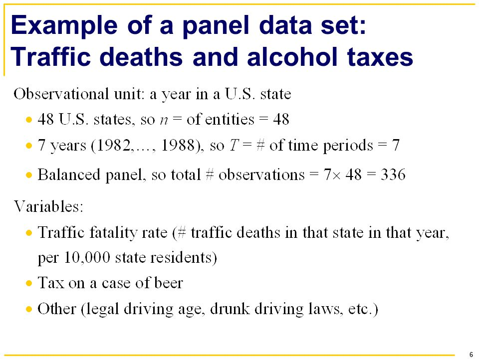 6 Example of a panel data set: Traffic deaths and alcohol taxes