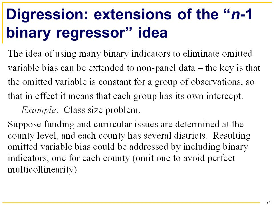 74 Digression: extensions of the n-1 binary regressor idea
