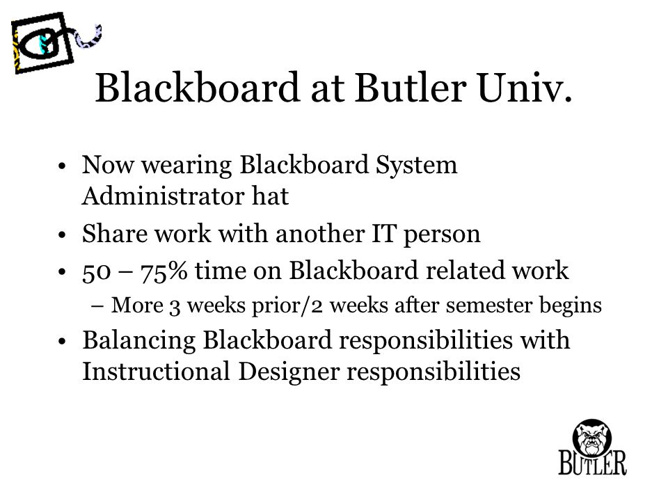 Blackboard at Butler Univ.