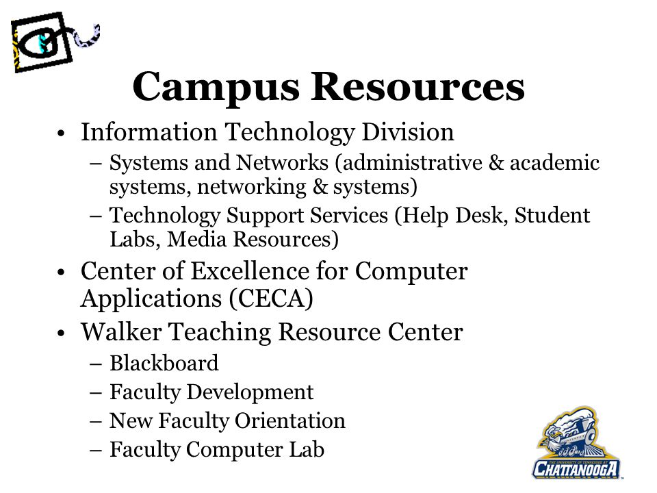 Campus Resources Information Technology Division –Systems and Networks (administrative & academic systems, networking & systems) –Technology Support Services (Help Desk, Student Labs, Media Resources) Center of Excellence for Computer Applications (CECA) Walker Teaching Resource Center –Blackboard –Faculty Development –New Faculty Orientation –Faculty Computer Lab