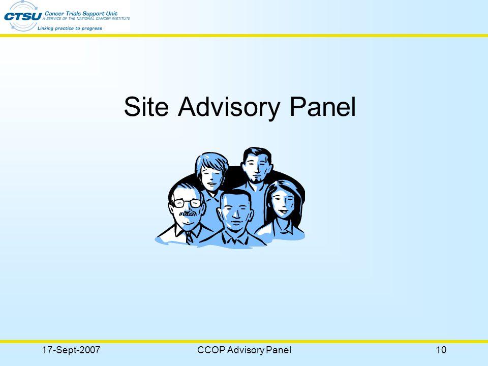 17-Sept-2007CCOP Advisory Panel10 Site Advisory Panel