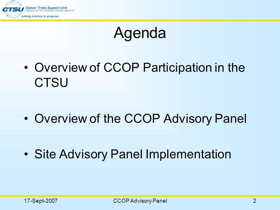 17-Sept-2007CCOP Advisory Panel3 CCOP Participation Active Sites – 279 27% of CTSU institutions Active Investigators – 1600 24% of active CTSU investigators Active Associates – 1444 15% of active CTSU associates Enrollments – 7,295 30% of CTSU enrollments