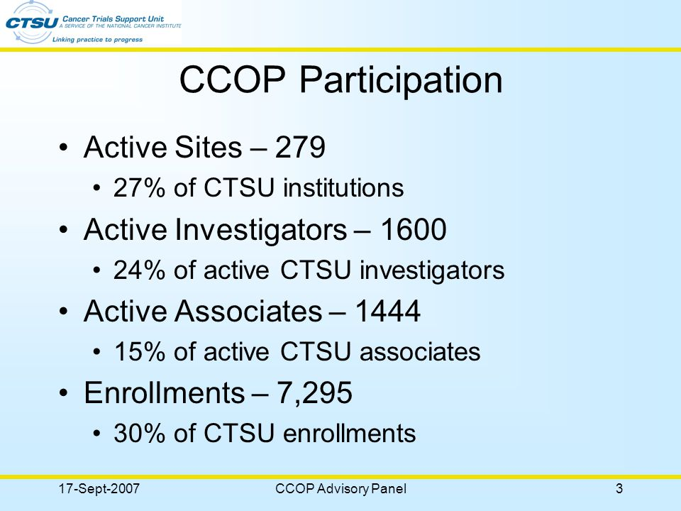 17-Sept-2007CCOP Advisory Panel14 SAP Charter Leadership – –Institutional Chair will be elected by participants –Co-Chair position led by CTSU representative This is your panel!