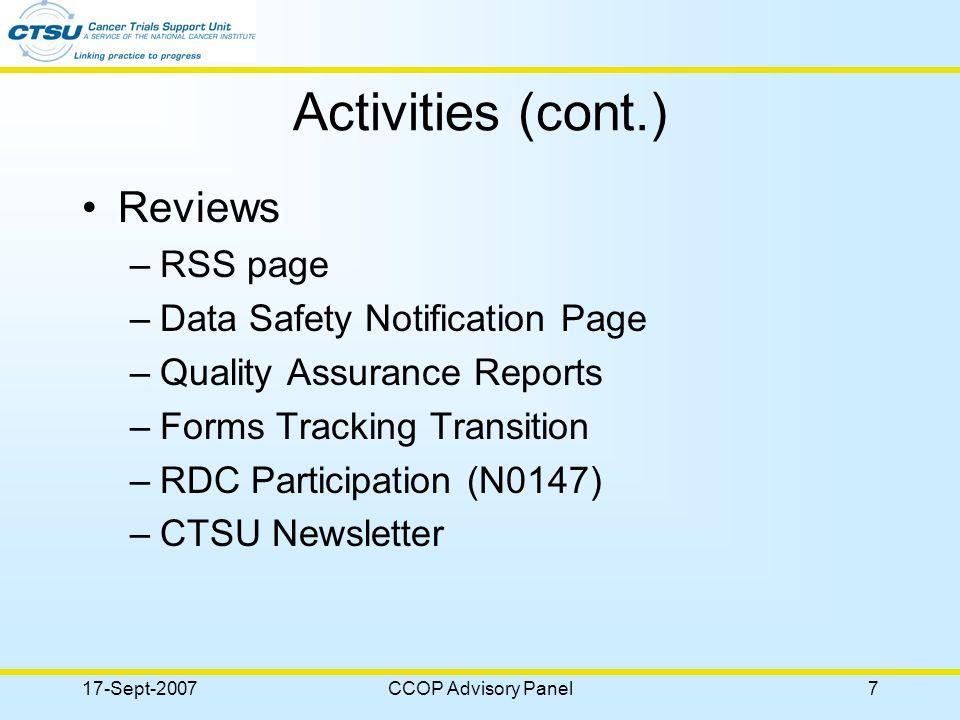 17-Sept-2007CCOP Advisory Panel18 Questions