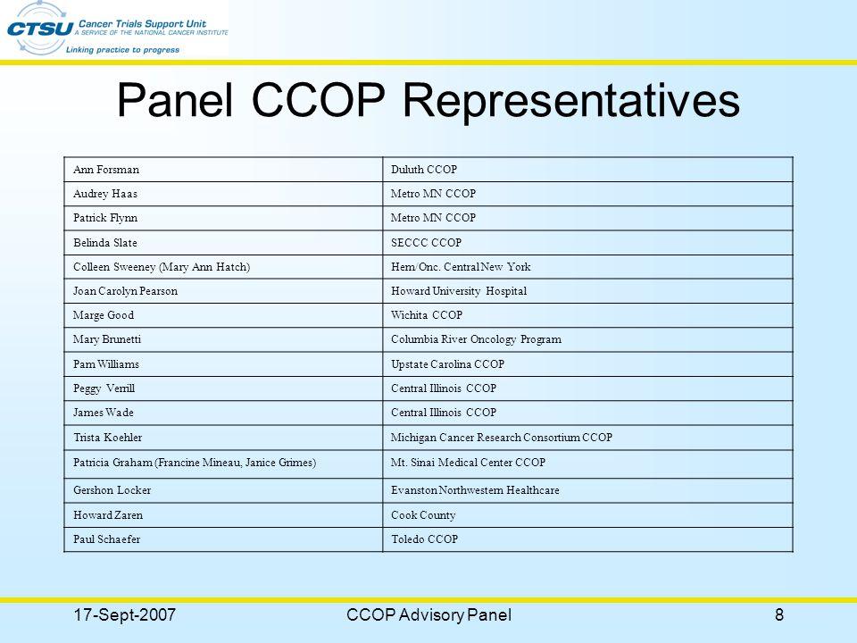 17-Sept-2007CCOP Advisory Panel9 Participant Experiences
