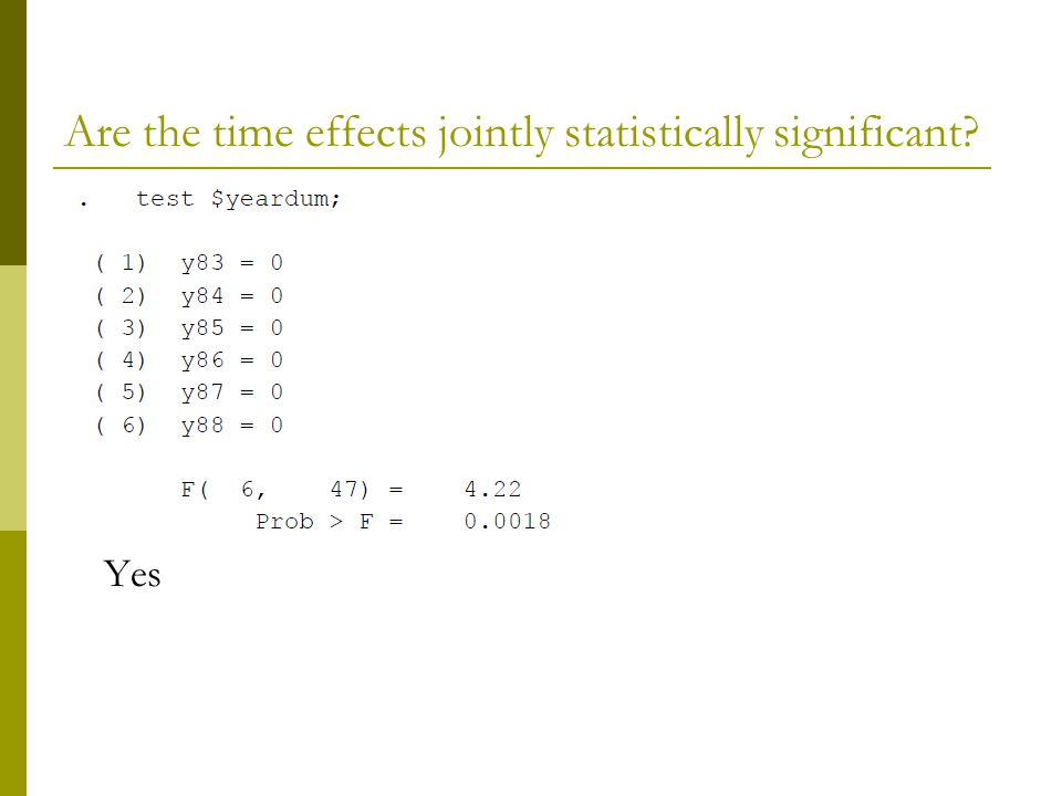 Are the time effects jointly statistically significant? Yes