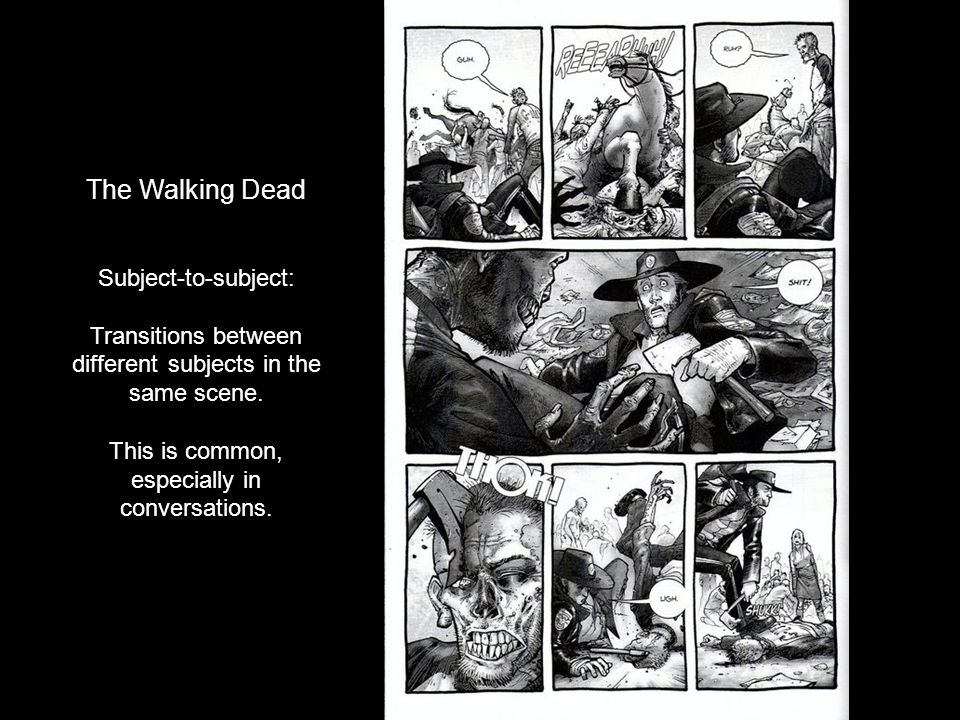 The Walking Dead Subject-to-subject: Transitions between different subjects in the same scene. This is common, especially in conversations.