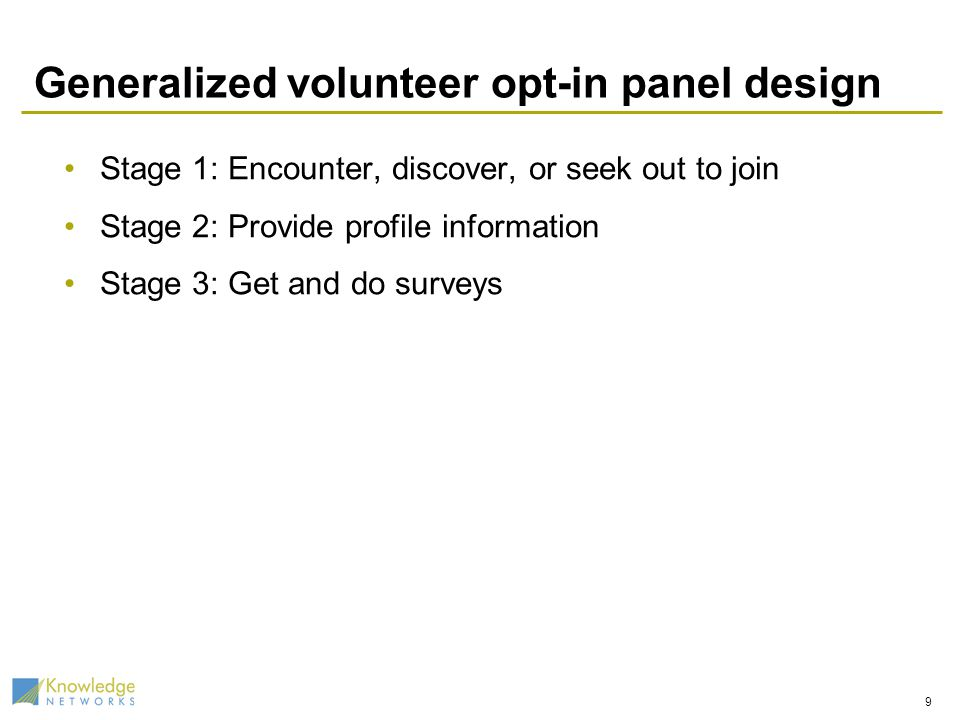 Generalized volunteer opt-in panel design Stage 1: Encounter, discover, or seek out to join Stage 2: Provide profile information Stage 3: Get and do surveys 9