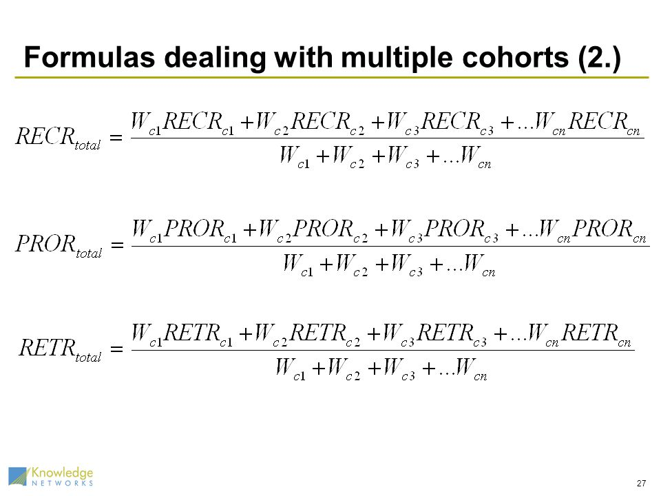 Formulas dealing with multiple cohorts (2.) 27