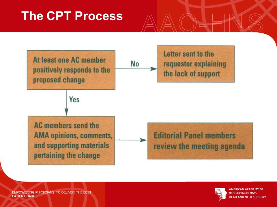 EMPOWERING PHYSICIANS TO DELIVER THE BEST PATIENT CARE Who can propose or modify a CPT code? Individual person or institution Specialty society AMA CP