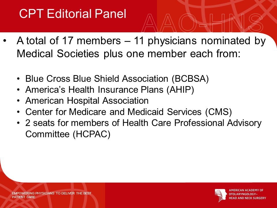 EMPOWERING PHYSICIANS TO DELIVER THE BEST PATIENT CARE A total of 17 members – 11 physicians nominated by Medical Societies plus one member each from: