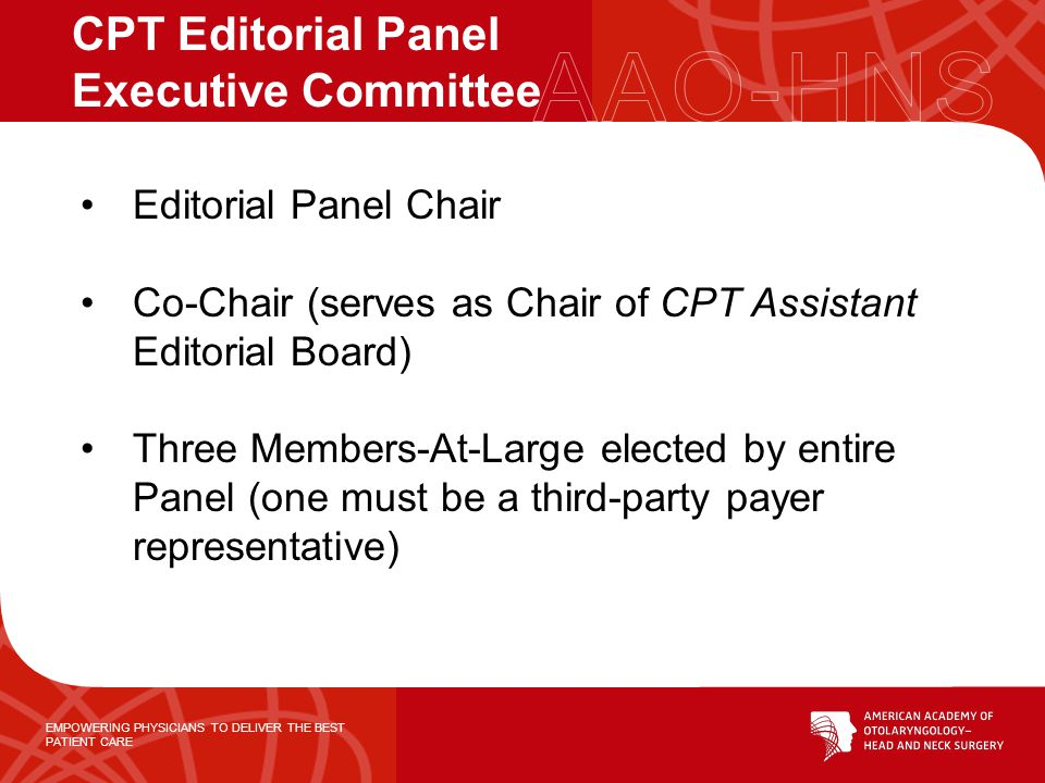 EMPOWERING PHYSICIANS TO DELIVER THE BEST PATIENT CARE Editorial Panel Chair Co-Chair (serves as Chair of CPT Assistant Editorial Board) Three Members-At-Large elected by entire Panel (one must be a third-party payer representative) CPT Editorial Panel Executive Committee