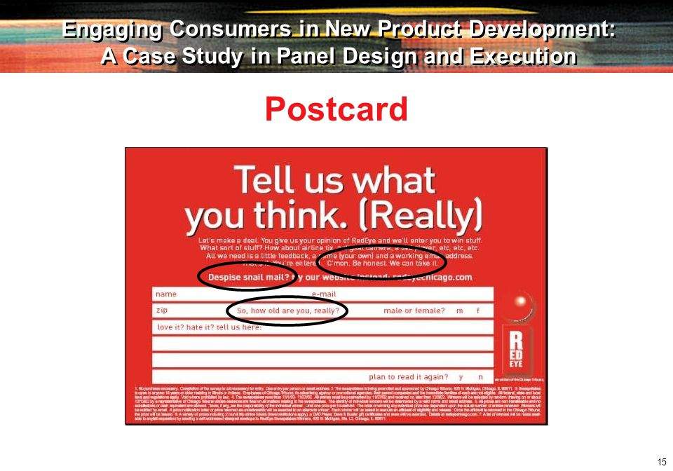 15 Engaging Consumers in New Product Development: A Case Study in Panel Design and Execution Engaging Consumers in New Product Development: A Case Study in Panel Design and Execution Postcard