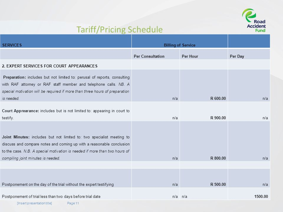 Page 11[Insert presentation title] Tariff/Pricing Schedule SERVICESBilling of Service Per ConsultationPer HourPer Day 2.