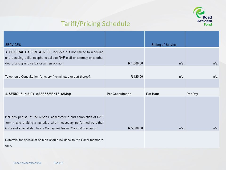Page 12[Insert presentation title] Tariff/Pricing Schedule SERVICESBilling of Service 3.