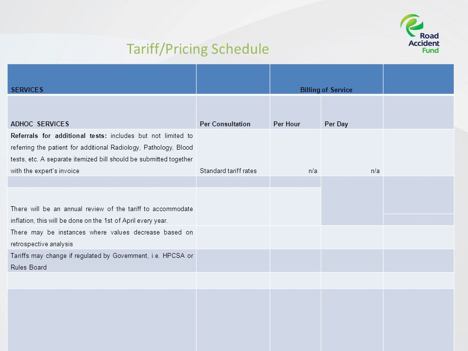 Page 13[Insert presentation title] Tariff/Pricing Schedule SERVICESBilling of Service ADHOC SERVICESPer ConsultationPer HourPer Day Referrals for additional tests: includes but not limited to referring the patient for additional Radiology, Pathology, Blood tests, etc.