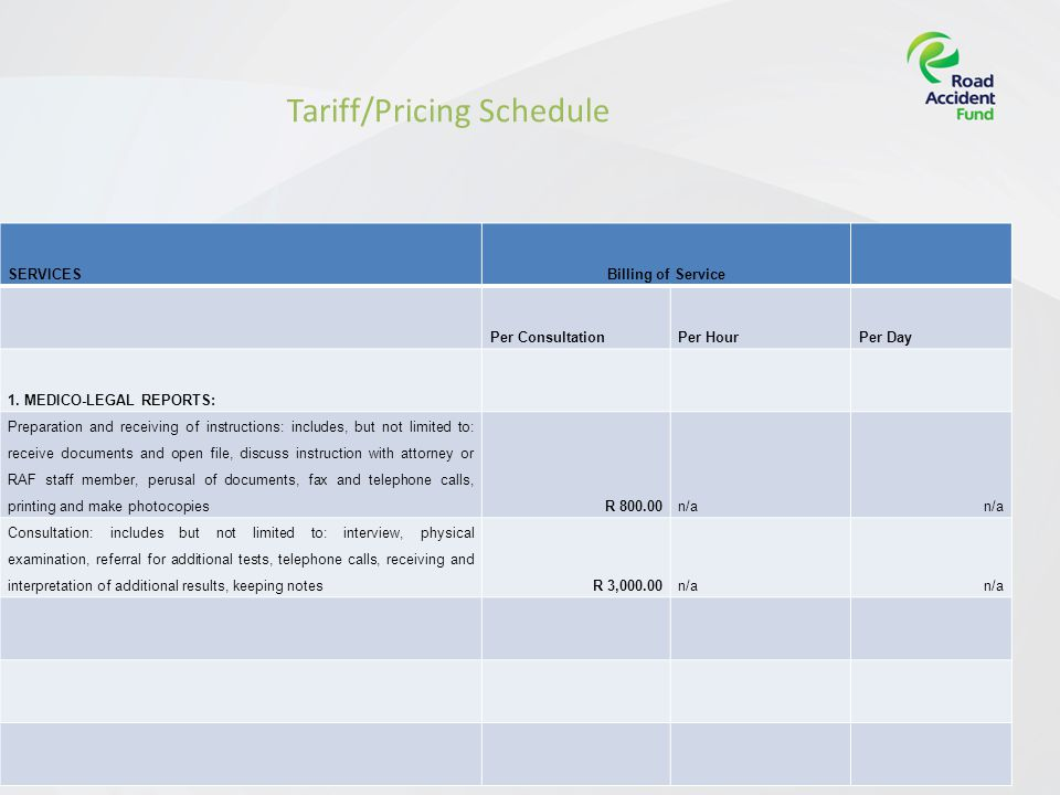 Page 9[Insert presentation title] Tariff/Pricing Schedule SERVICESBilling of Service Per ConsultationPer HourPer Day 1.