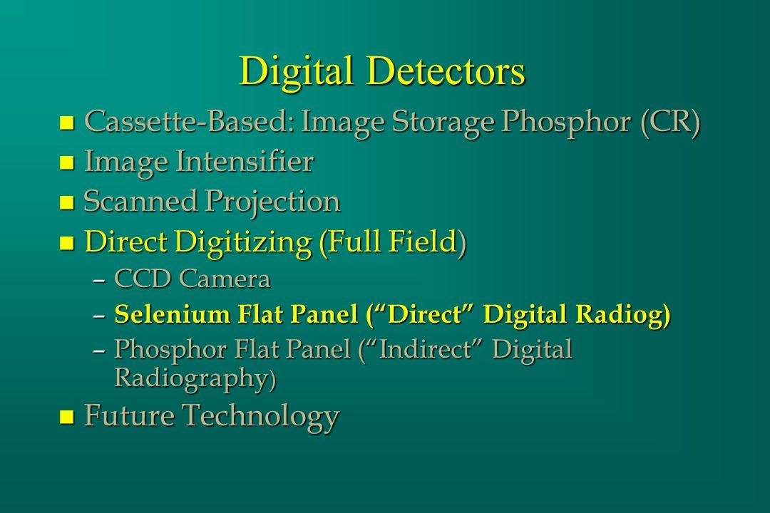 Digital Detectors n Cassette-Based: Image Storage Phosphor (CR) n Image Intensifier n Scanned Projection n Direct Digitizing (Full Field) –CCD Camera – Selenium Flat Panel (Direct Digital Radiog) –Phosphor Flat Panel (Indirect Digital Radiography ) n Future Technology