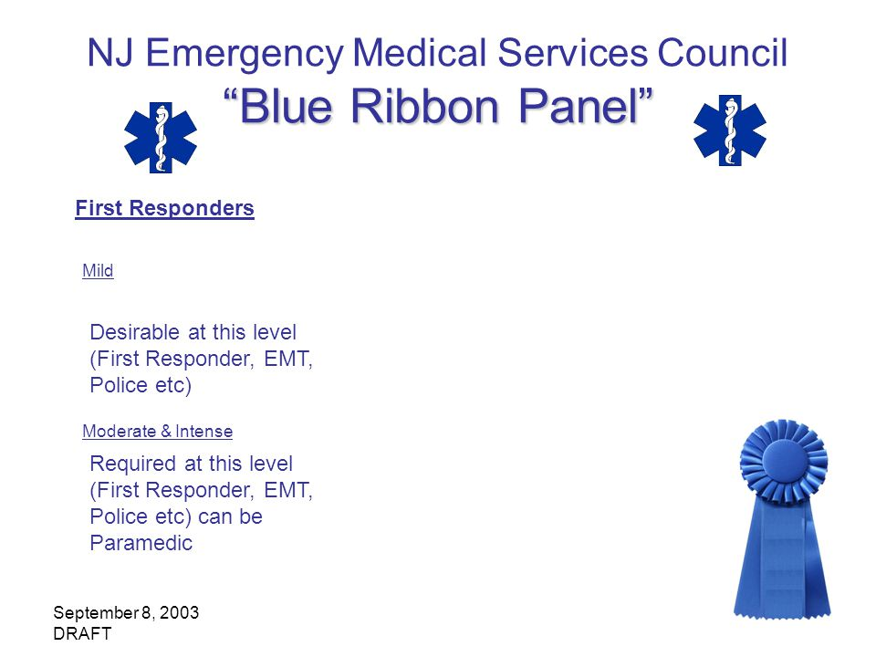 September 8, 2003 DRAFT Blue Ribbon Panel NJ Emergency Medical Services Council Blue Ribbon Panel First Responders Mild Desirable at this level (First