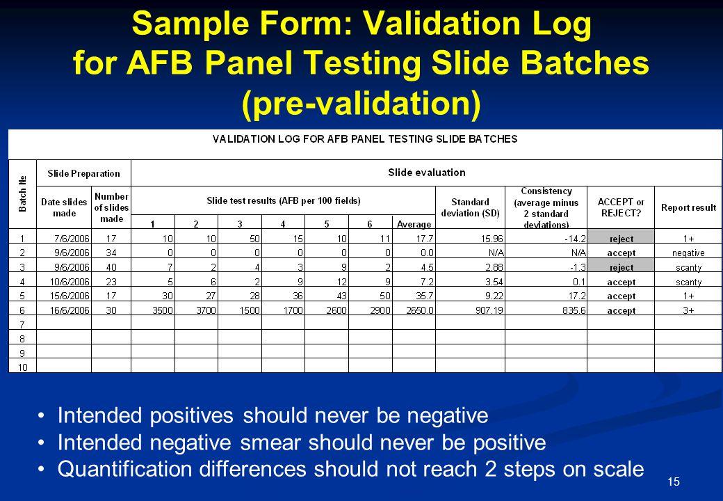 15 Sample Form: Validation Log for AFB Panel Testing Slide Batches (pre-validation) Intended positives should never be negative Intended negative smear should never be positive Quantification differences should not reach 2 steps on scale