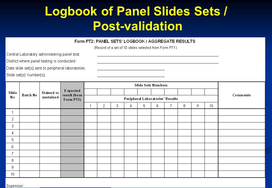 17 Logbook of Panel Slides Sets / Post-validation