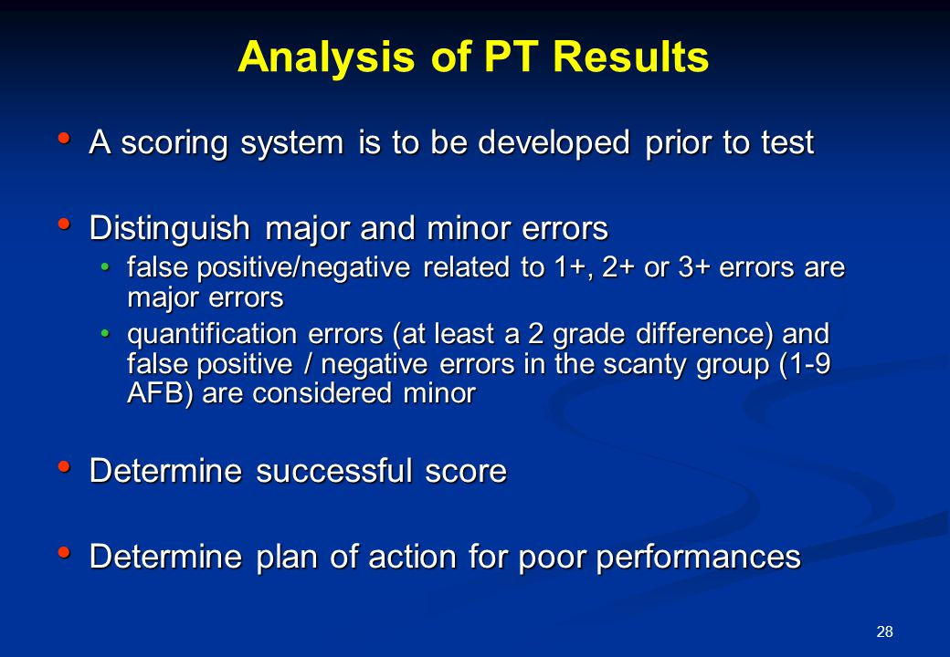 28 Analysis of PT Results A scoring system is to be developed prior to test A scoring system is to be developed prior to test Distinguish major and mi