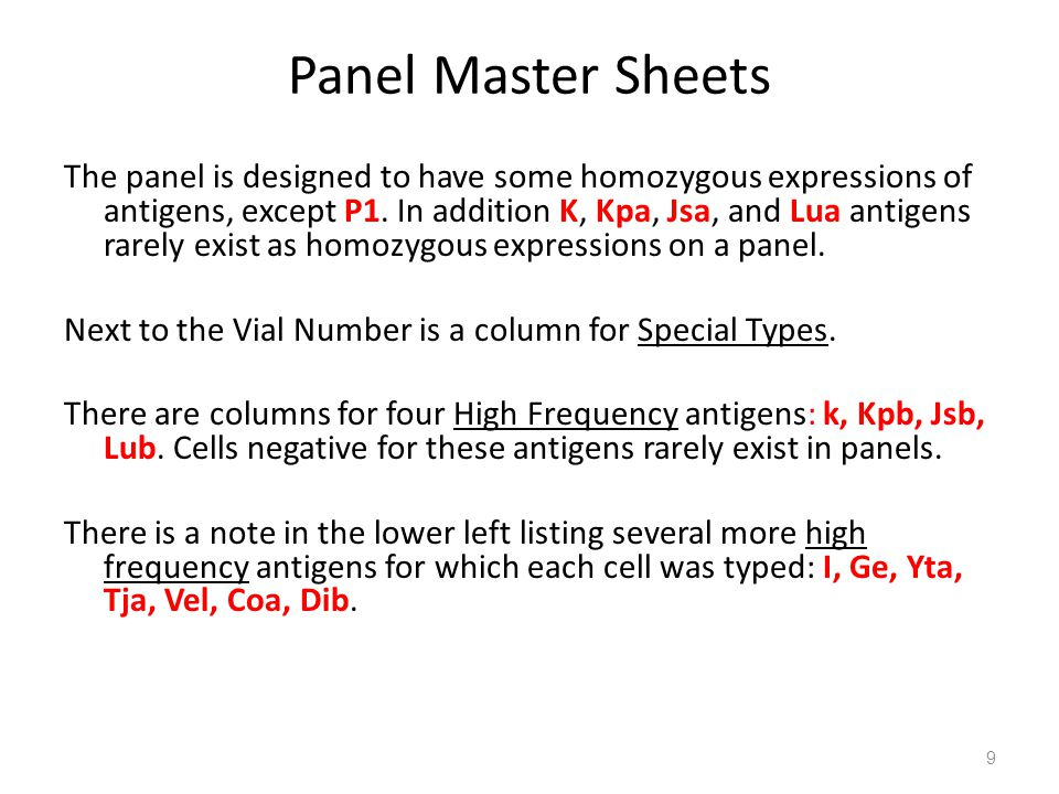 Panel Master Sheets The panel is designed to have some homozygous expressions of antigens, except P1. In addition K, Kpa, Jsa, and Lua antigens rarely