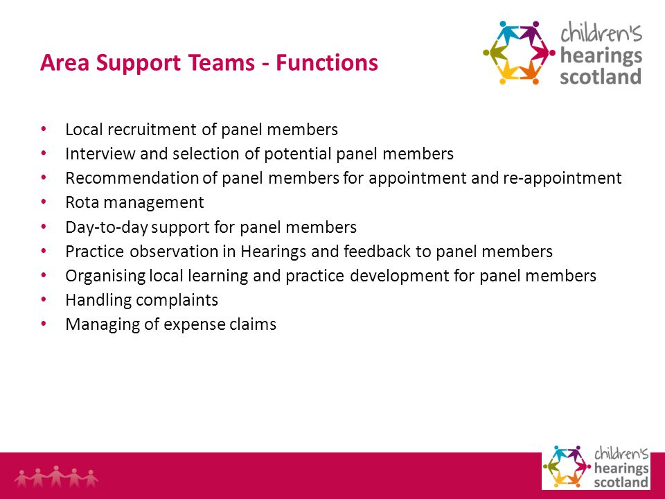 20 Area Support Teams - Functions Local recruitment of panel members Interview and selection of potential panel members Recommendation of panel members for appointment and re-appointment Rota management Day-to-day support for panel members Practice observation in Hearings and feedback to panel members Organising local learning and practice development for panel members Handling complaints Managing of expense claims