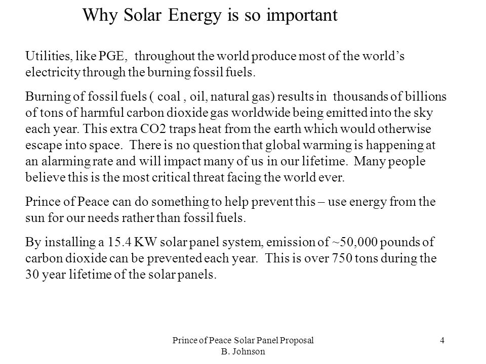 Prince of Peace Solar Panel Proposal B.