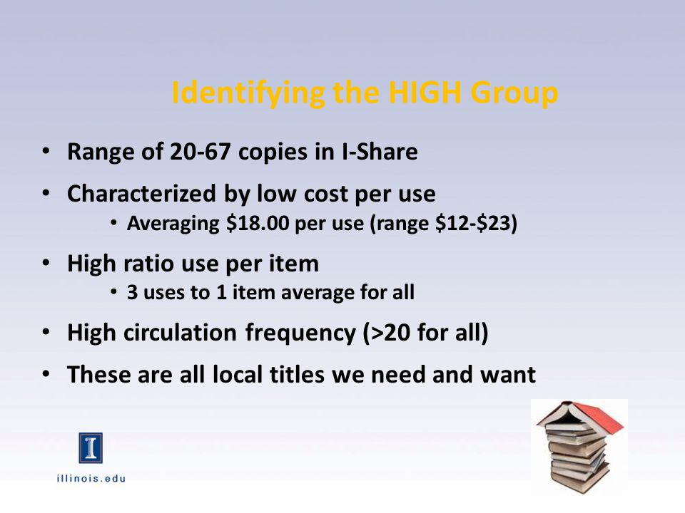 Range of 7 or fewer copies in I-Share Characterized by a HIGHER cost per use Averaging $ 35.00 per use (range $29-$42) LOW ratio use per item Mostly 2.5 to 1 overall for group LOW circulation frequency 30% of titles had 0-1 uses But these are titles we may want as research libraries Low Use: The Comet tail Copies