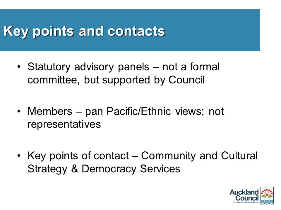 Statutory advisory panels – not a formal committee, but supported by Council Members – pan Pacific/Ethnic views; not representatives Key points of contact – Community and Cultural Strategy & Democracy Services Key points and contacts