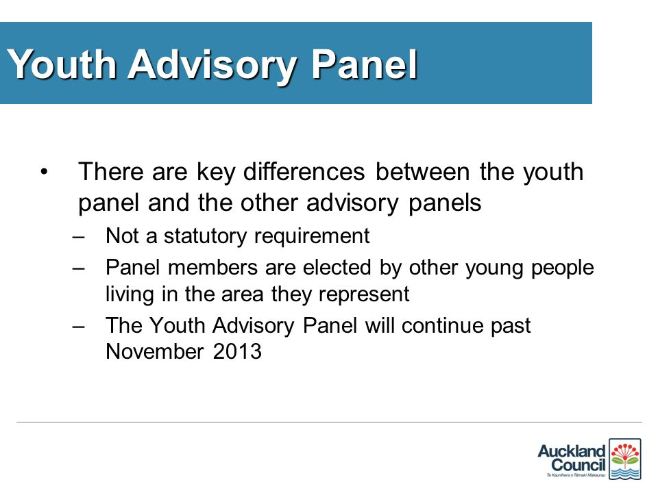 There are key differences between the youth panel and the other advisory panels –Not a statutory requirement –Panel members are elected by other young people living in the area they represent –The Youth Advisory Panel will continue past November 2013 Youth Advisory Panel