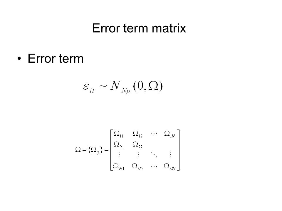 Error term matrix Error term