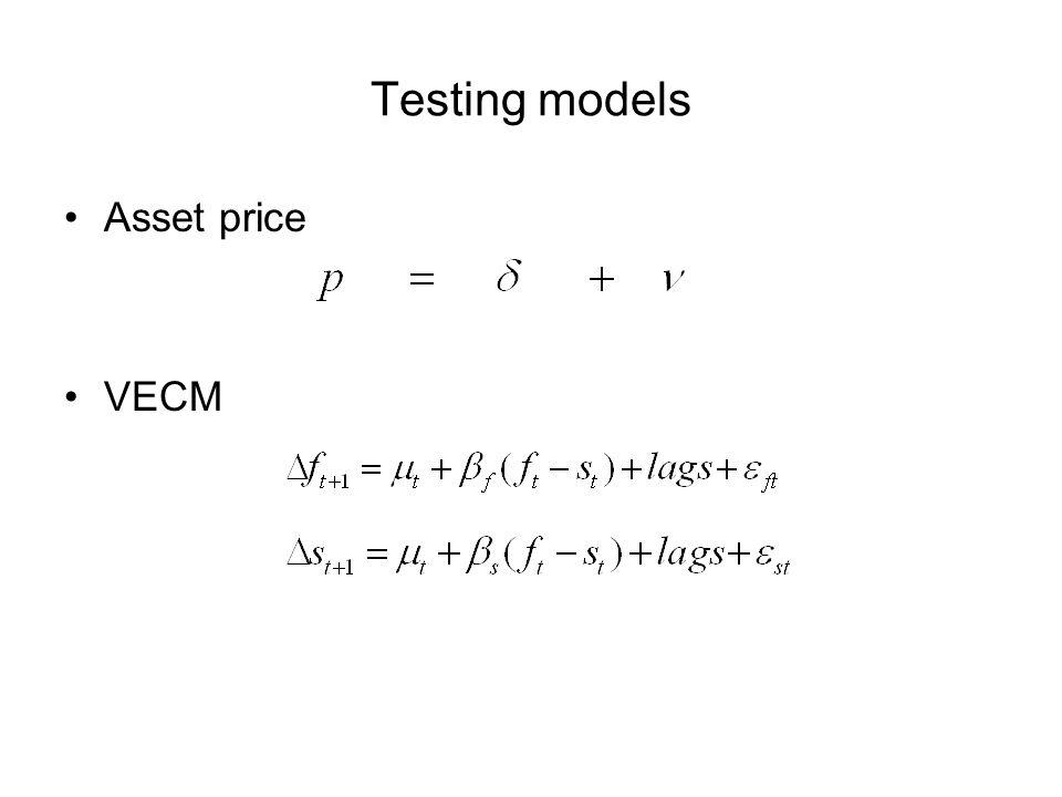 Testing models Asset price VECM