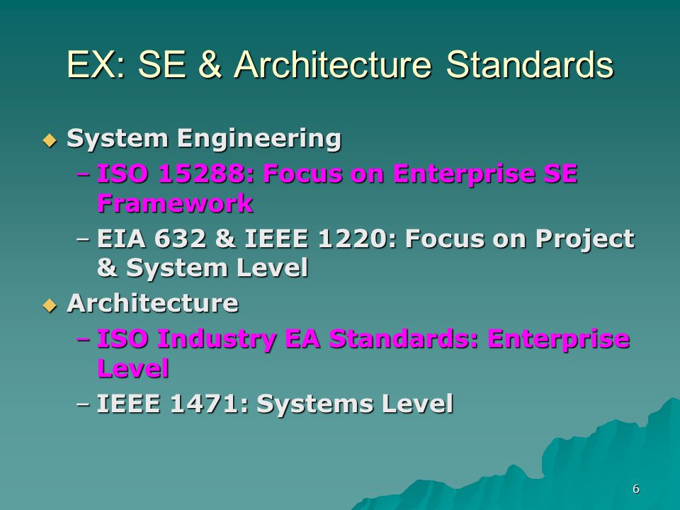 7 Hierarchy of Enterprise SoS Architecture & Mission Threads ESE Level