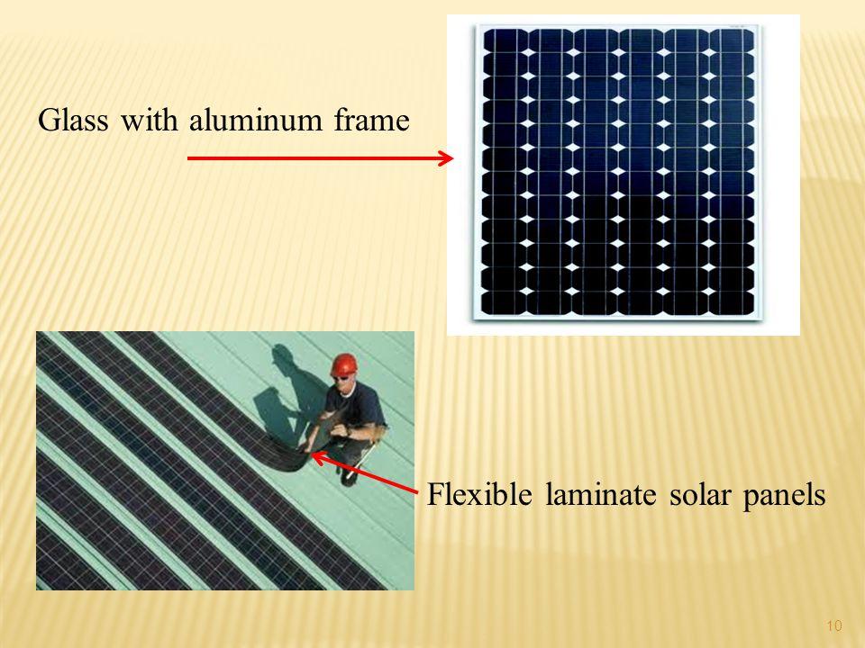 10 Flexible laminate solar panels Glass with aluminum frame